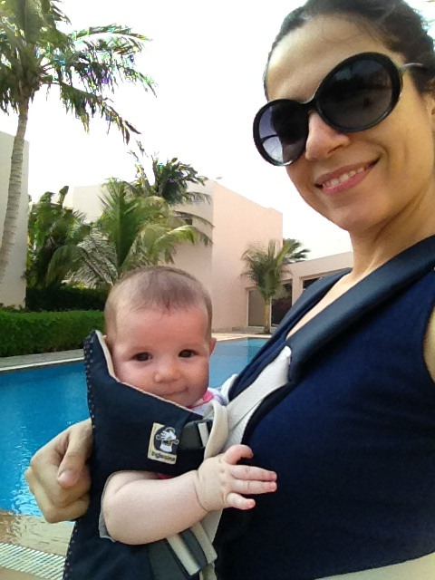 Enjoying an afternoon walk with mommy - 3 months old