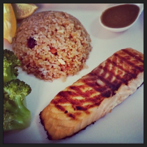 asian salmon with nutty bulgur