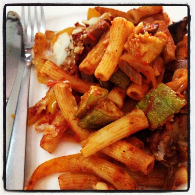 penne with roasted vegetables and marinara sauce
