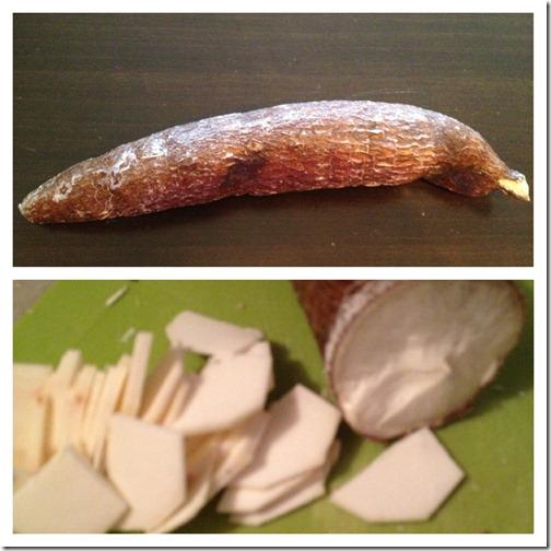 cassava fruit cut into chips