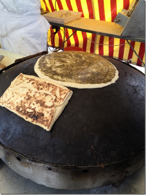 Farmers' market paris- zaatar man'ousheh on sajj