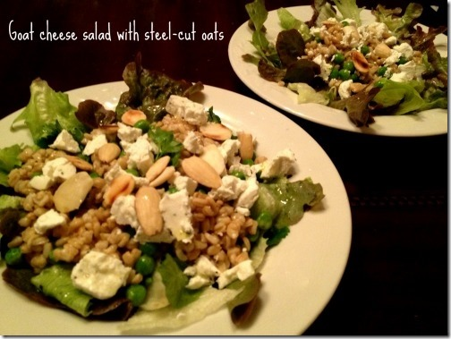 goat cheese salad with steel cut oats